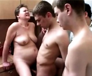 Mature group cumshot