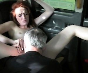 Pale redhead banged in fake...