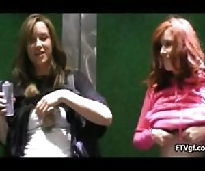 Two sexy teen chicks going...
