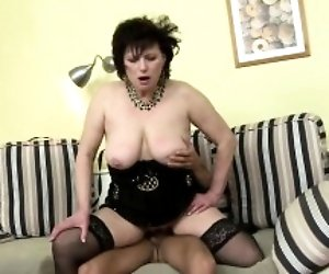 Horny housewife doing her...