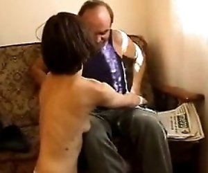 Mature guy fuck young skank...